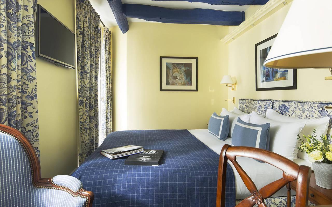 Chambre jaune et bleue Hotel Paris Louvre