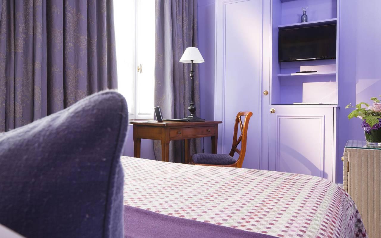 Chambre double violette hotel rue saint honore