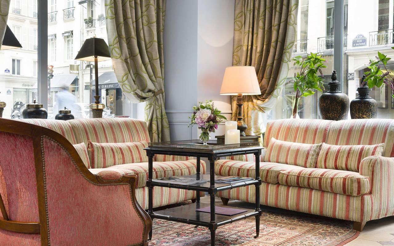 Salon cosy prestigieux hotel paris louvre